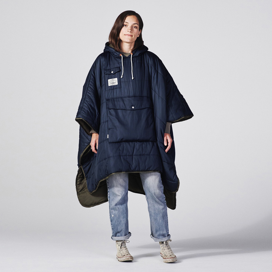 REVERSIBLE CAMP PONCHO NAVY/OLIVE