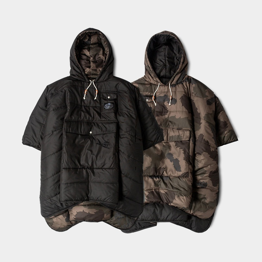 REVERSIBLE CAMP PONCHO CAMO/BLACK