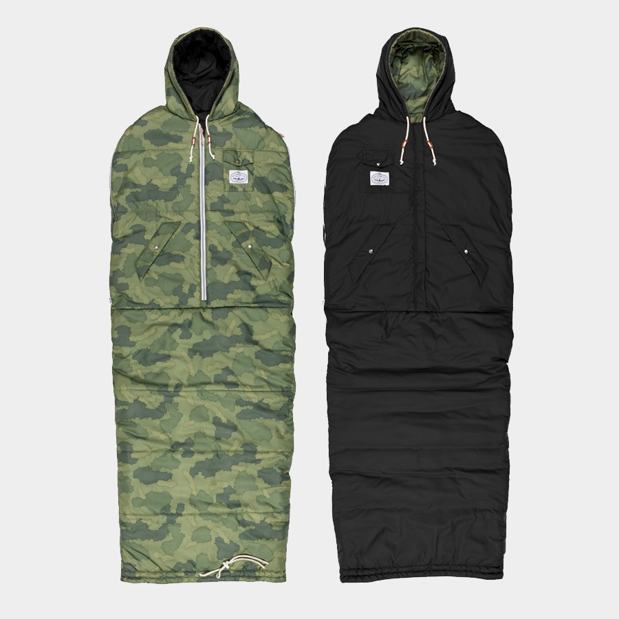 REVERSIBLE NAPSACK GREEN FURRY CAMO / BLACK