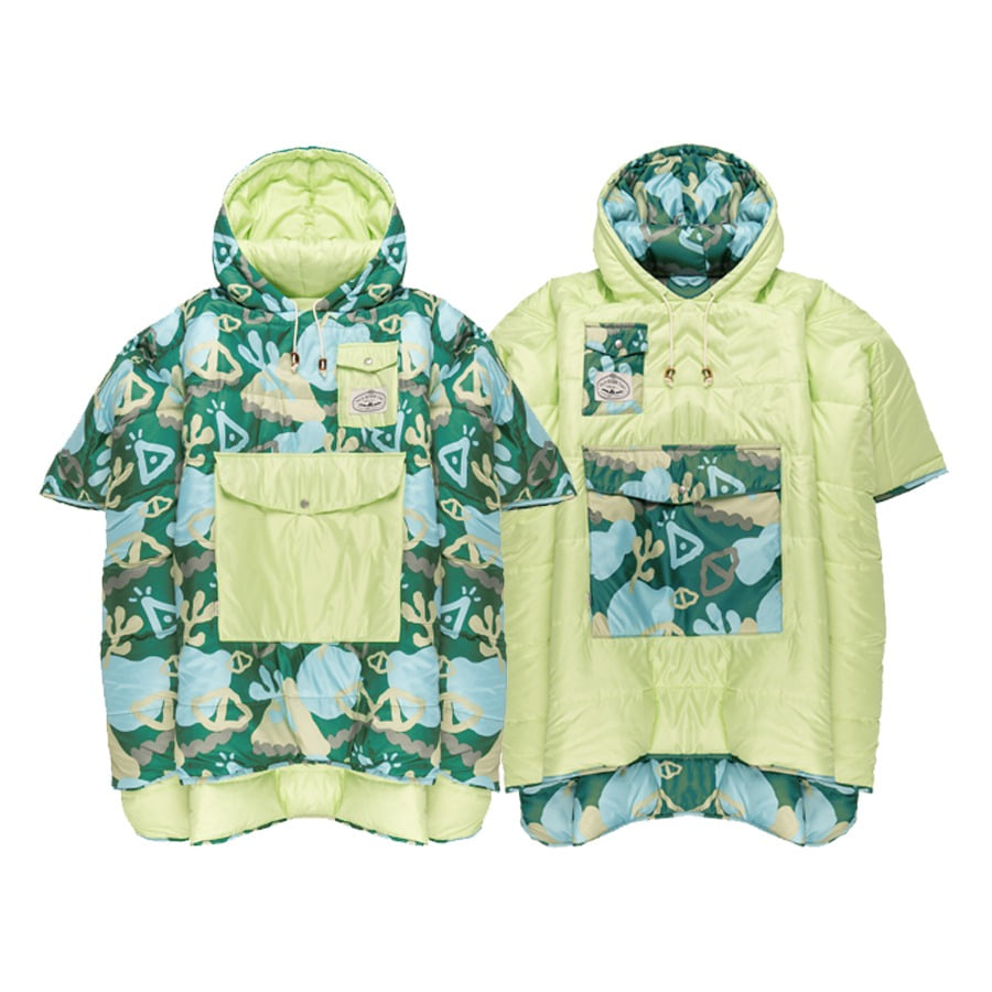 REVERSIBLE CAMP PONCHO CORAL REEF GREEN
