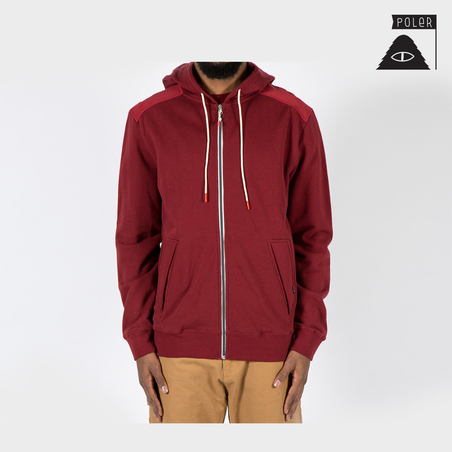 ZIP HOOD - YOLKED MERLOT